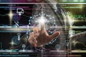 A businessman hand touching the Polygonal brain shape of an artificial intelligence with various icon.