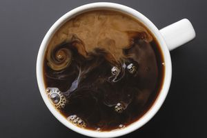 Coffee cup with coffee viewed from above