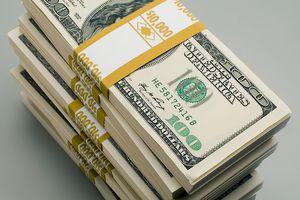 Stack of $10,000 bundles of cash