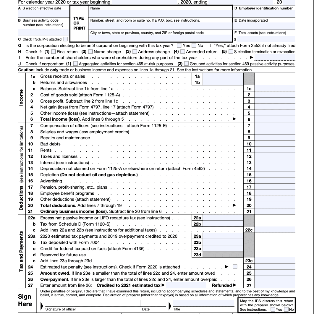Form 1120-S Page 1.