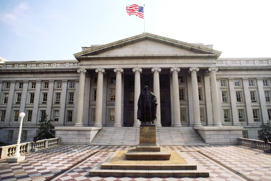 Statue in front of a building, US Treasury Department, Washington DC, USA