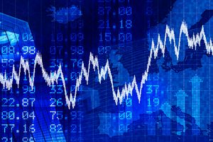 Blue financial stock exchange background.