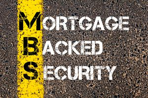 Acronym MBS - Mortgage Backed Security. Yellow paint line on the road against asphalt background.
