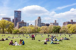 Central Park in spring with people