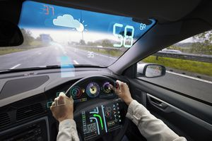 A car of the future with an augmented reality display of traffic information