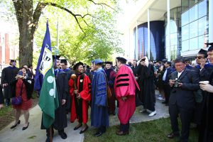 Yale School of Management gathering for 2018 commencement procession