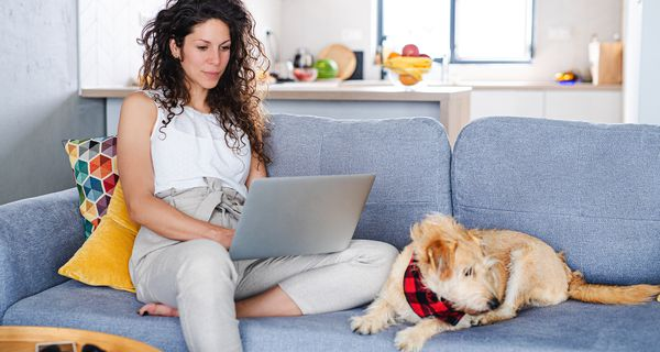Woman with pet dog sitting and working indoors at home, using laptop