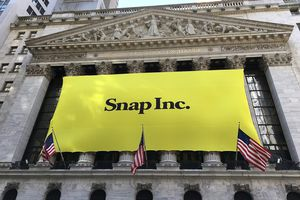 Image of Snap Inc. banner at New York Stock Exchange