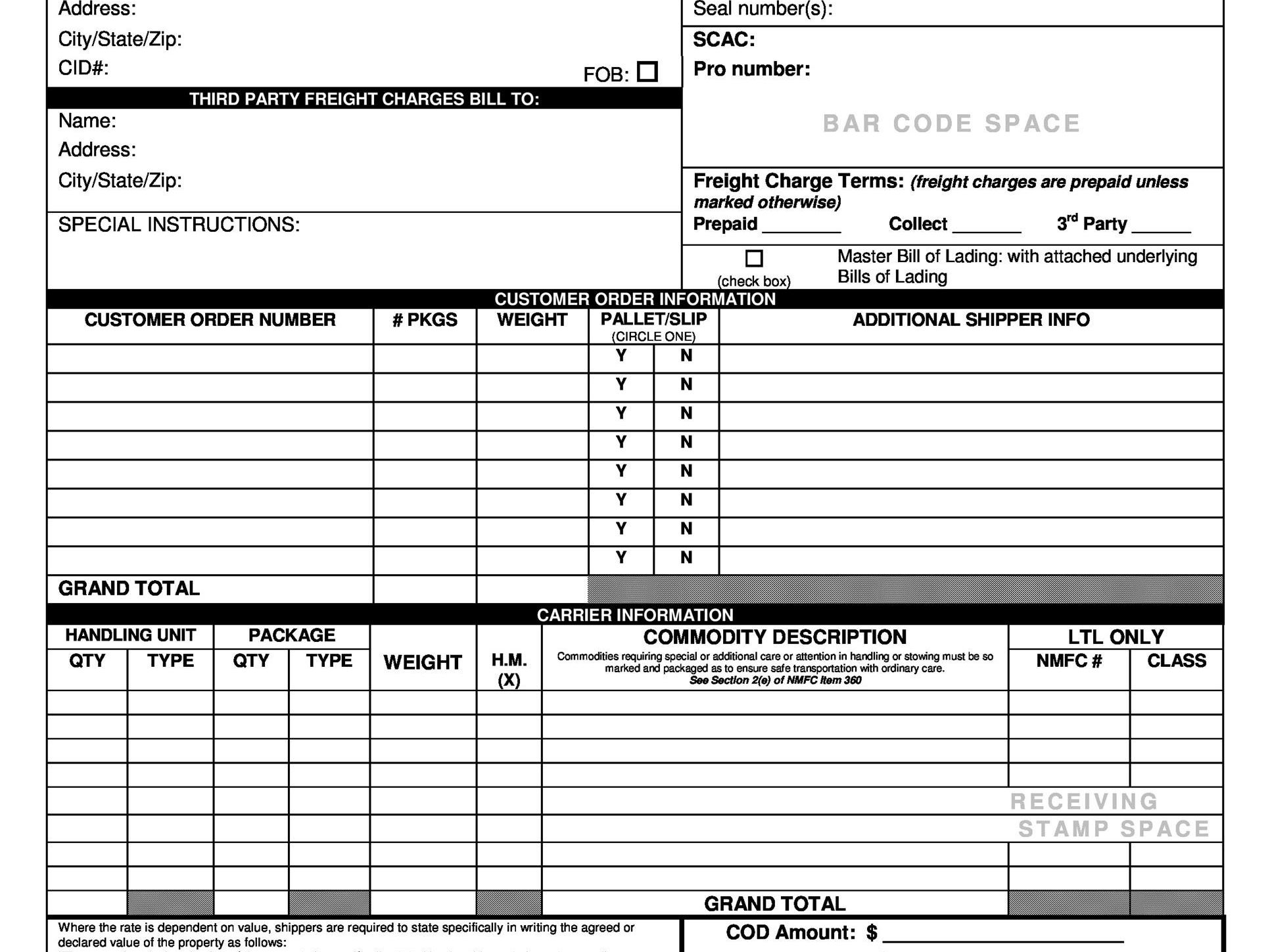 Bill of Lading Definition Pertaining To Blank Bol Template