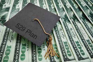 A graduation cap with 529 Plan text, on hundred dollar bills.