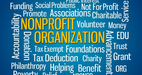 Word map of charity, tax deduction, nonprofit organization, etc.