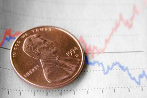 A penny on a market chart.