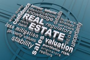 Graphic with words real estate, valuation, etc.