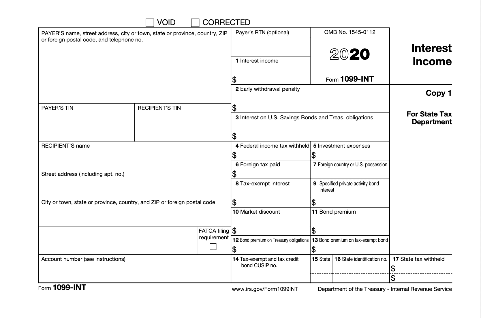 bank of america 1098 corrected
