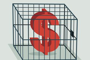 A red Dollar sign in a big cage.