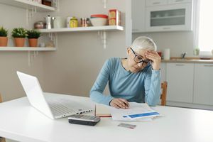 Woman makes serious financial and banking decisions