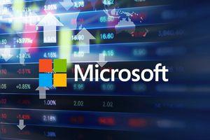 Microsoft logo on a digital screen.