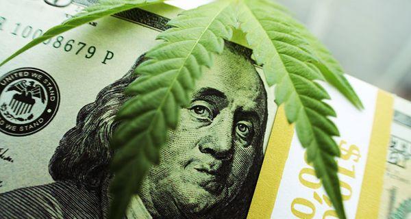 Image of marijuana leaf and money