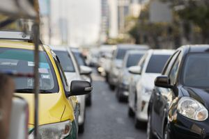 Cars in traffic jam during rush hour at city