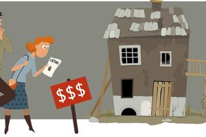 Cartoon of a couple looking at a wrecked house to flip it or use as a rental property.