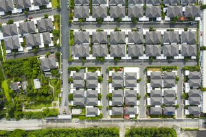 Aerial view of homes in a suburban neighborhood