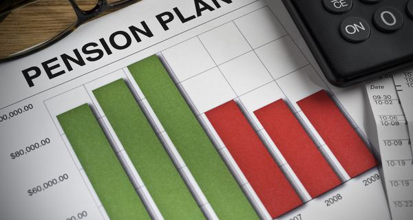 Pension plan chart with green and red bars
