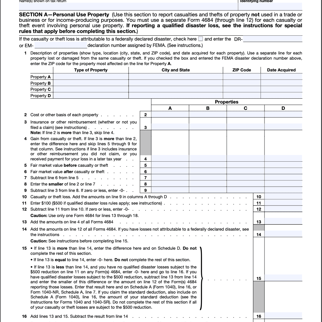Form 4684 Page 1.