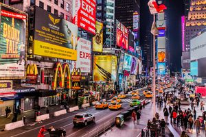 Times Square in New York City with advertising billboards