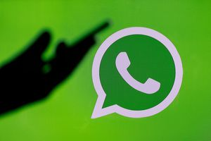 In this photo illustration, the social media application logo, WhatsApp is displayed on the screen of a computer