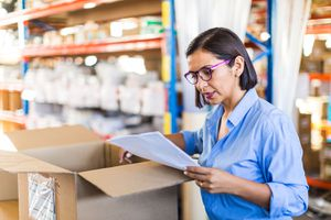 Female businesswoman checking delivery in a small business