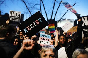 Protesters at a demonstration in support of transgender youth.