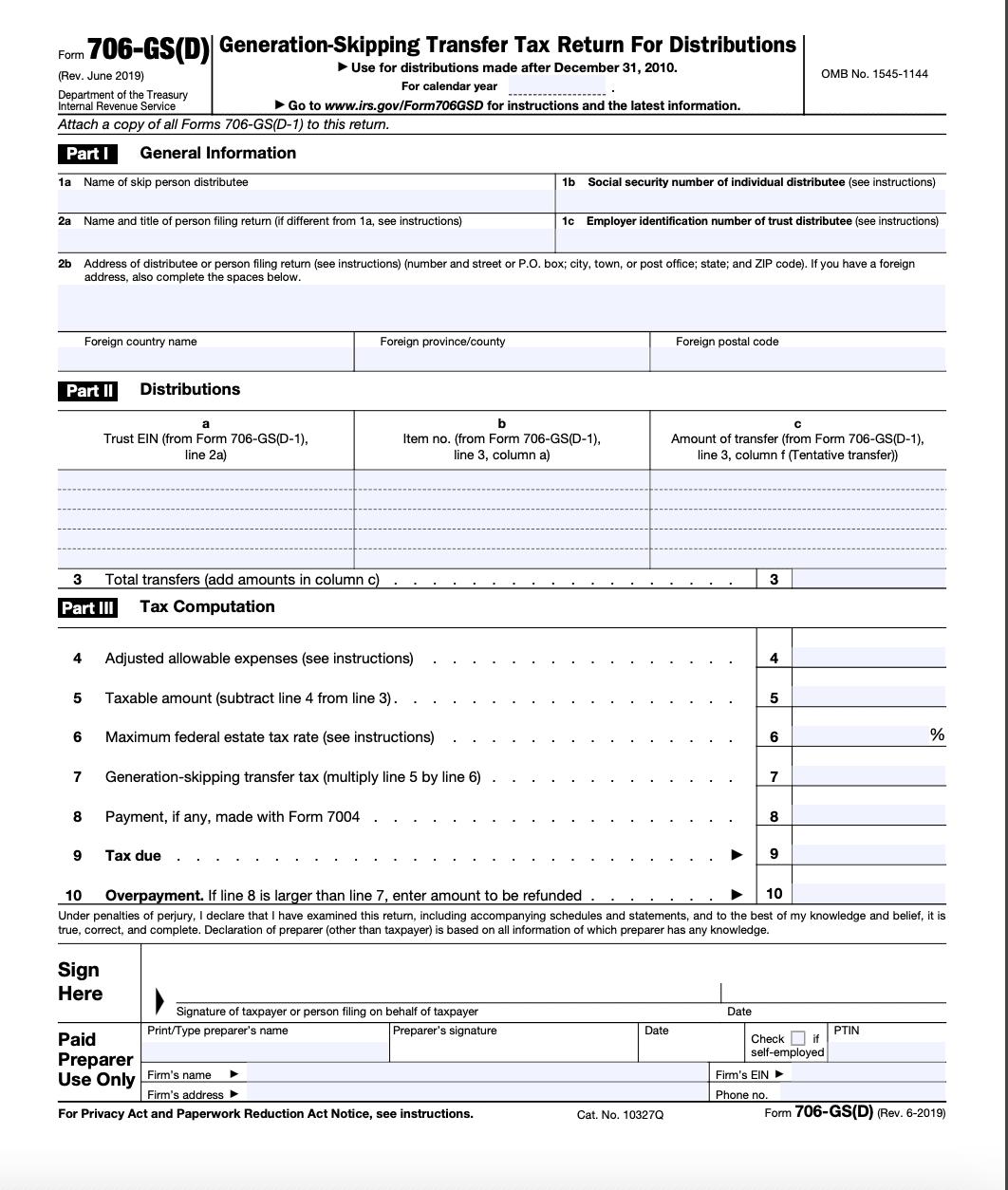 Form 706-GS(D) Page 1