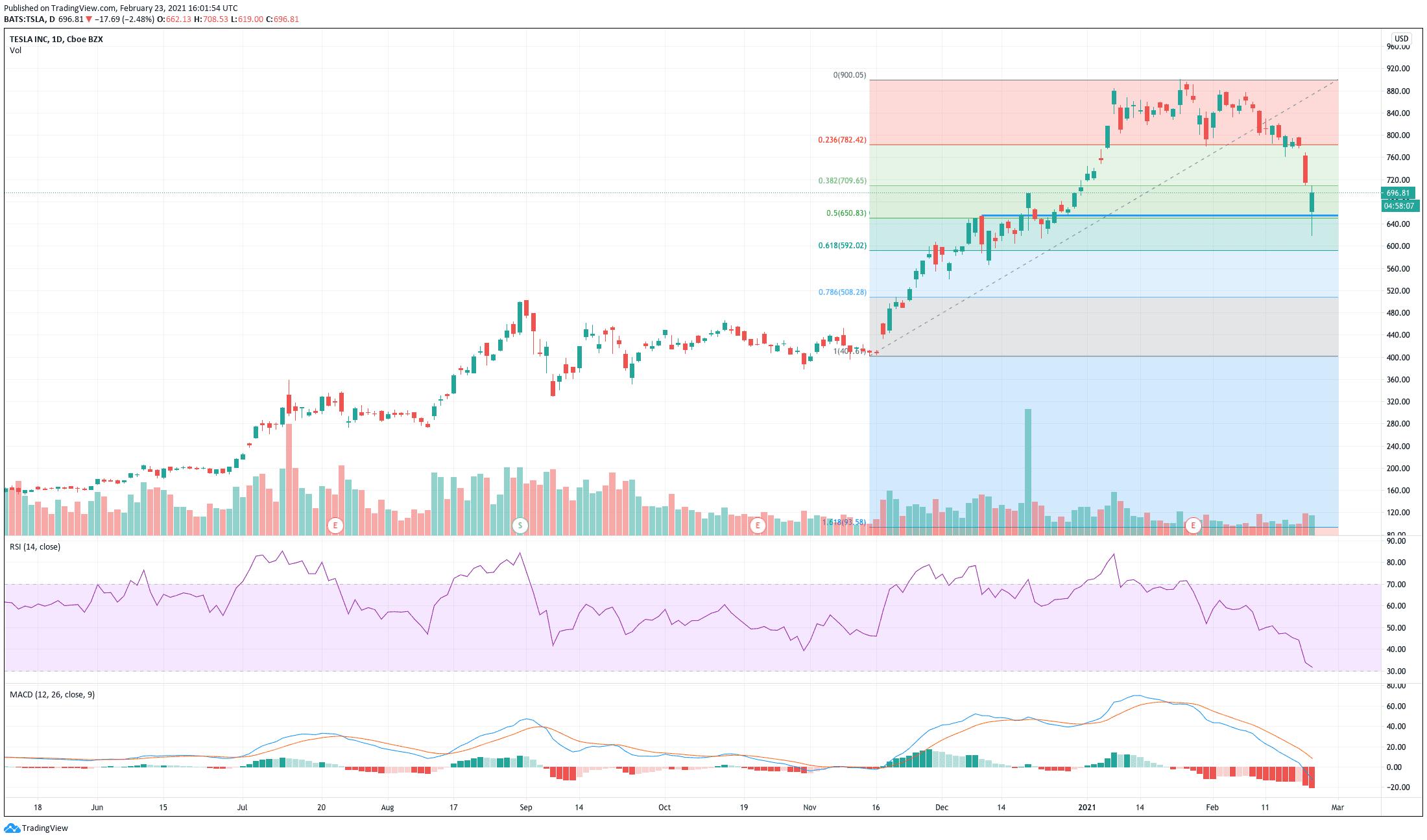 Chart showing the share price performance of Tesla, Inc. (TSLA)