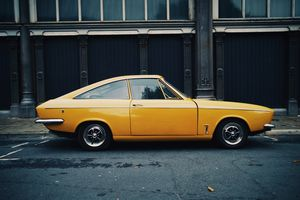 Yellow car from the 1970s