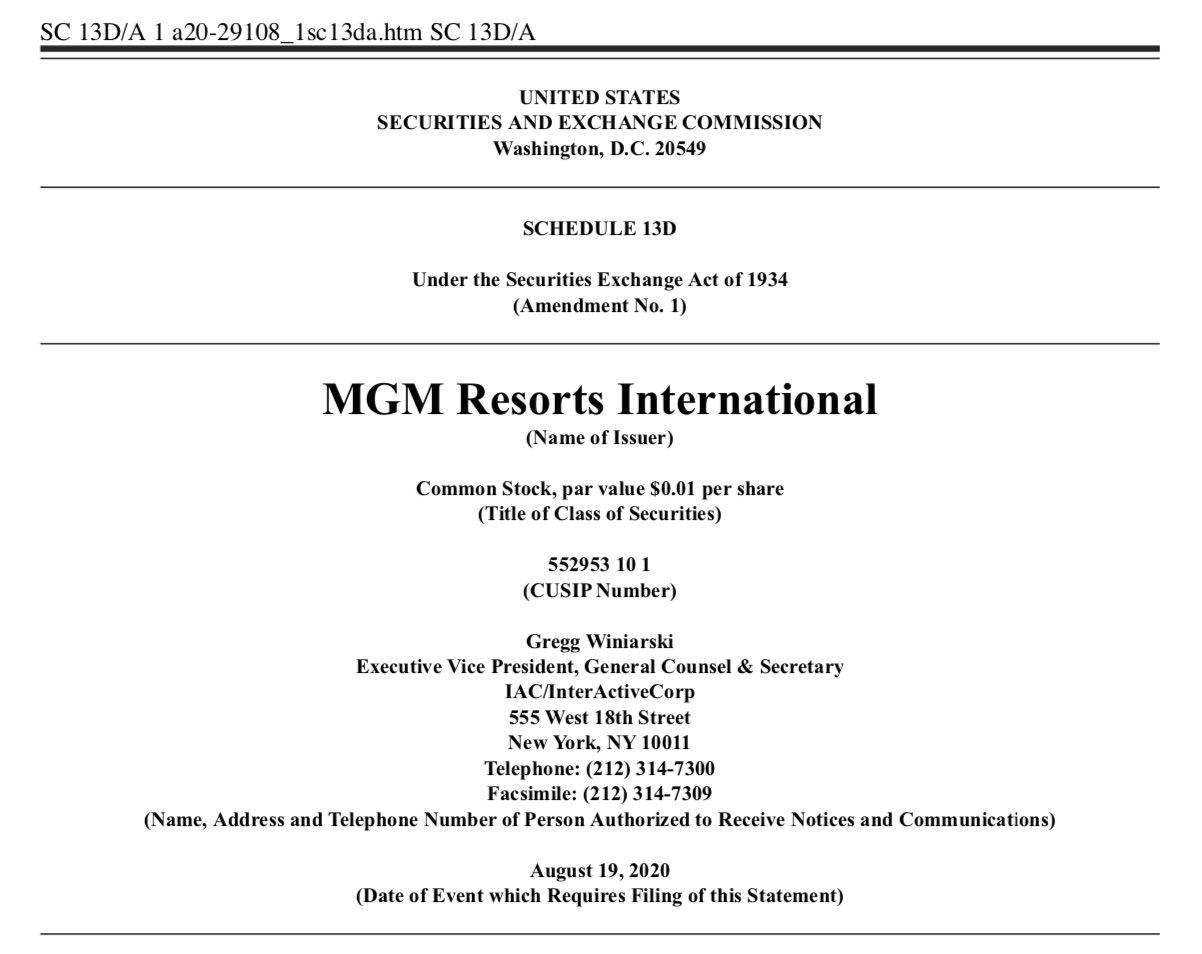 MGM Resorts International 13D Filing Example