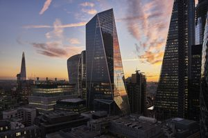 Skyline of London's financial district at sunset