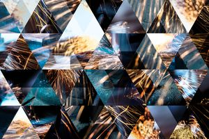 Abstract triangle shaped background: Mechanical industry welding sparks