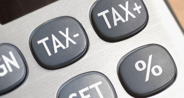 Calculator keyboard with Tax- and Tax+ keys