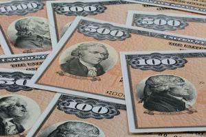 Close-up of multiple Savings bonds