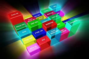 Building blocks representing different indices such as the S&P 500, ATX, DAX, and others.