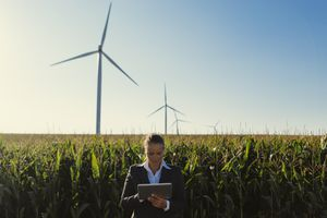 A woman checking a tablet by windmills on a farm