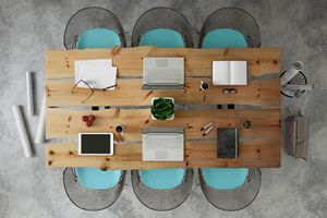 Knolling top view of a team office table