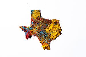 Map of Texas, USA, with colored powder.