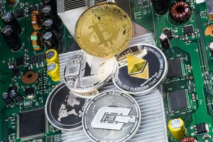 Image of cryptocurrencies and computer chip