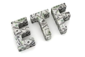 """The letters """"ETF"""" drawn in money"""