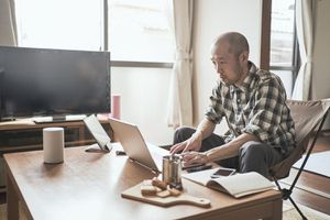 Male worker working from Home