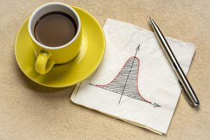 A hand drawn bell curve by a cup of coffee