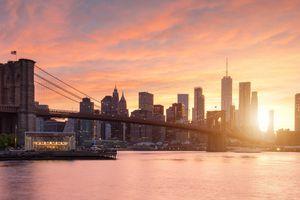 The New York City skyline at sunset.