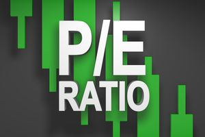 P/E ratio, price to earnings ratio 3D title for stock market.
