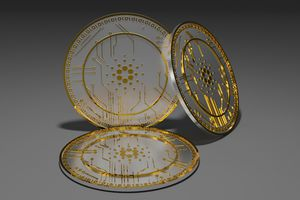 A 3D rendering of Cardano cryptocurrency coins.